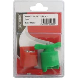 2 robinets batterie Véhicule Leger  vert - et rouge + -SODISTART  S04232