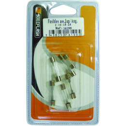 Lot de 6 fusibles verre de 2 a 25 Amperes AUTO - S16199