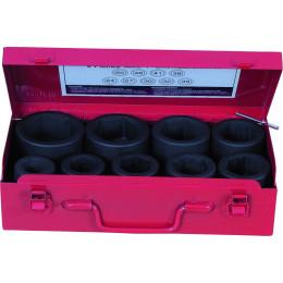 Douille à chocs 1 '' en coffret de 9 de 24 à 50 mm DRAKKAR TOOLS - S10839