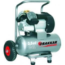 Compresseur  coaxial 24 litres 3,5 cv mono  DRAKKAR -S11125