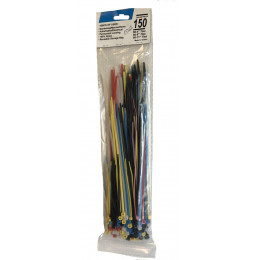 Assortiment de 150 attaches cables multi taille et couleurs- 15362
