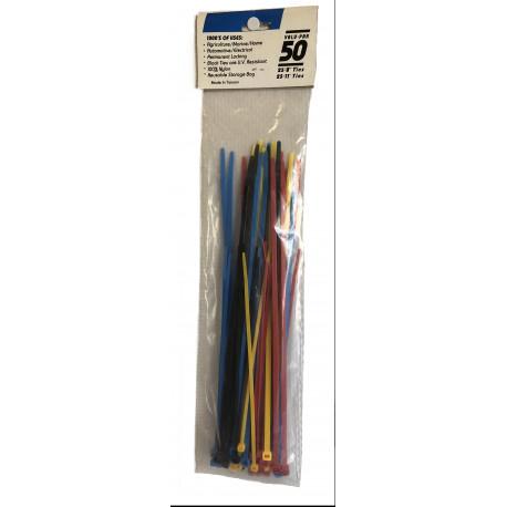 Assortiment de 50 attaches cables multi tailles et couleurs- 15360