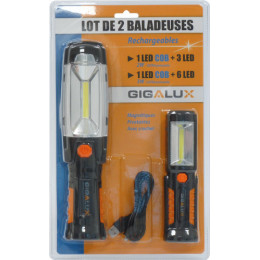 2 Baladeuses LED rechargeables GIGALUX -S02164