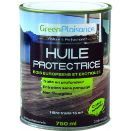 HUILE SATURATEUR TERRASSE BOIS  origine végétale  Hydrofuge - 750Ml GreenPlaisance