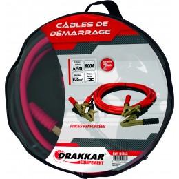 Jeu de cables de démarrage pinces laiton renforcées 800 Ampères -DRAKKAR  S04163