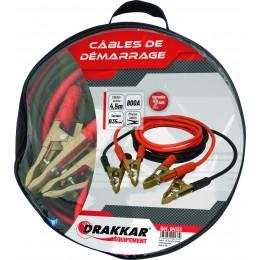 Jeu de cables de démarrage cuivre souple pinces laiton 800 Ampères  DRAKKAR- S04133