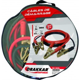 Jeu de cables de démarrage cuivre souple pinces laiton 1000 Ampères  drakkar- S04134